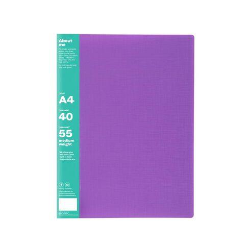 ColourHide Display Book Non-Refillable 40 Pocket Purple A4