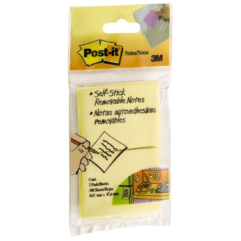 Post-It Notes 653HB 2 Pack Yellow
