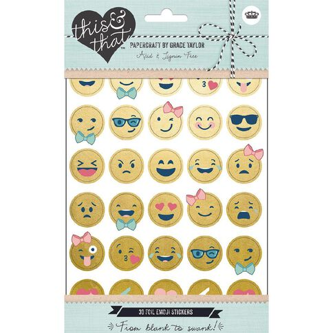 Grace Taylor This and That Self Adhesive Foil Emoji Stickers 30 Pack
