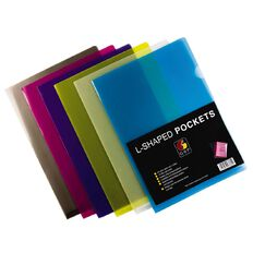 GBP Stationery L-Shaped Pockets 12 Pack Colours Assorted A4