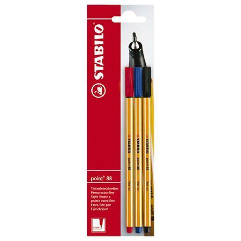 Stabilo Stabilo Pen Point 88 Medium 3 Pack Assorted