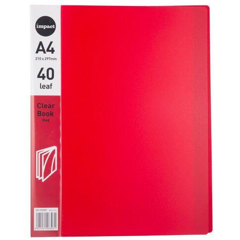 Impact Clear Book 40 Leaf Red A4