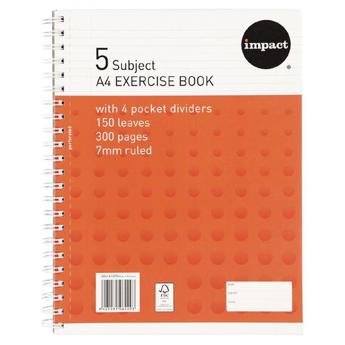 Impact Impact 5 Subject Book A4 7mm Ruled Spiral 150 Leaf