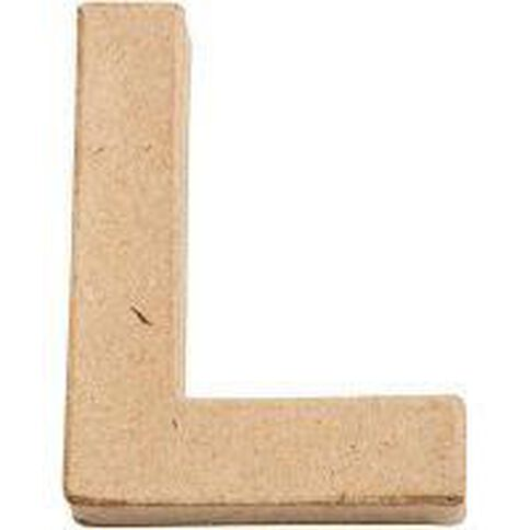 Paper Mache Alphabet Small Symbol L 10cm Brown