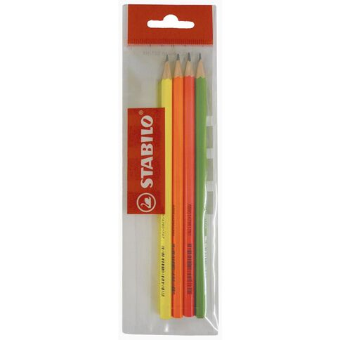 Stabilo Fluoro Pencil 307HB 4 Pack Assorted