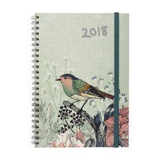 Diary 2018 Wtv Bird Pastel Hc Spiral Green A5