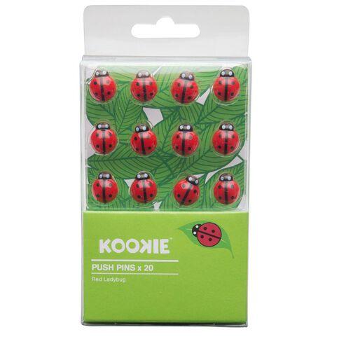 Kookie Ladybug Push Pins 20 Pack Red