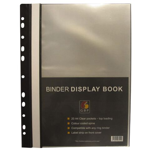 GBP Stationery Binder Display Book 20 Pocket Black A4