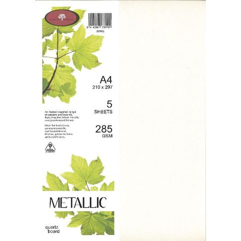 Metallic Board 285gsm 5 Pack Quartz A4