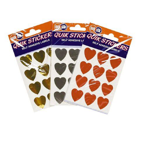 Heart Shaped Quik Stik Stickers Gold