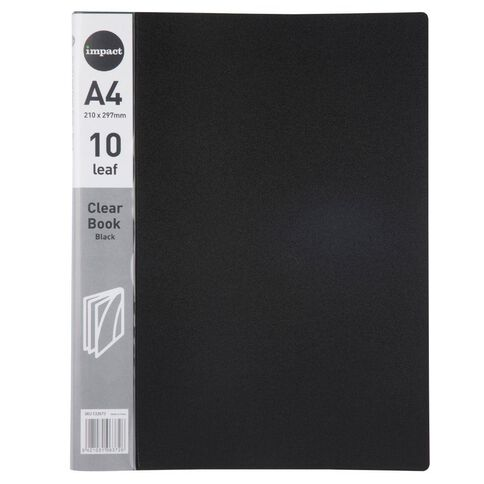 Impact Clear Book 10 Leaf Black A4