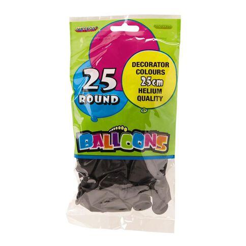 Meteor Balloons Round Black 25cm 25 Pack Black