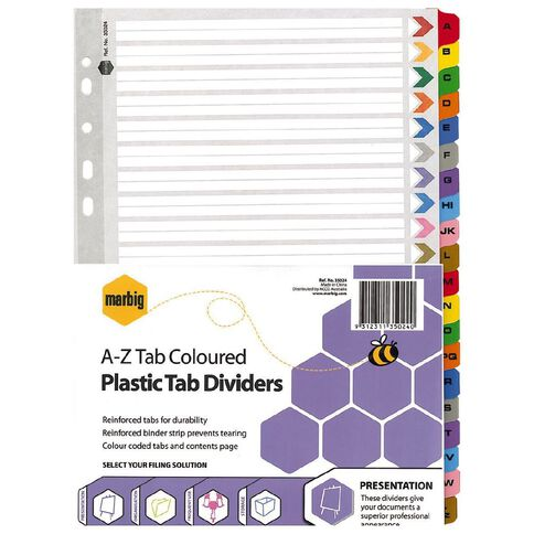 Marbig Dividers Plastic Reinforced Colour A-Z Tab A4