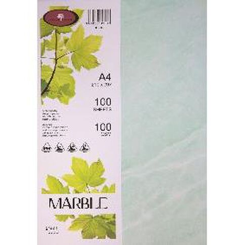 Marble Paper 100gsm 100 Pack Green A4