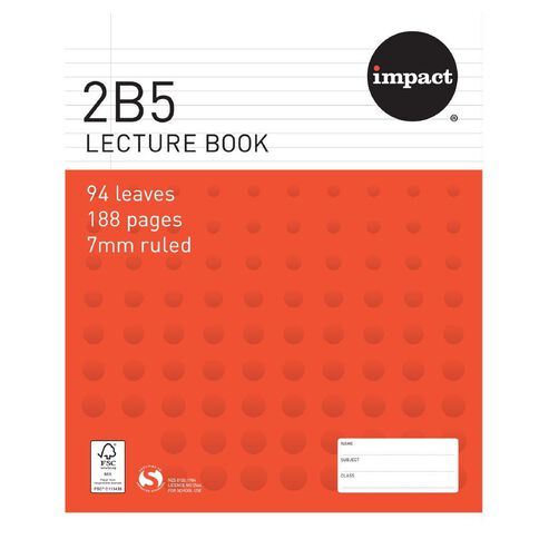 Impact Lecture Book 2B5 7mm Ruled Hardcover 94 Leaf