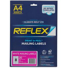 Reflex Mailing Labels 8 Per Sheet 20 Pack A4