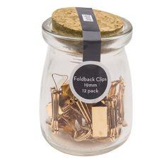 Uniti Foldback Clips In Glass Jar Rose Gold