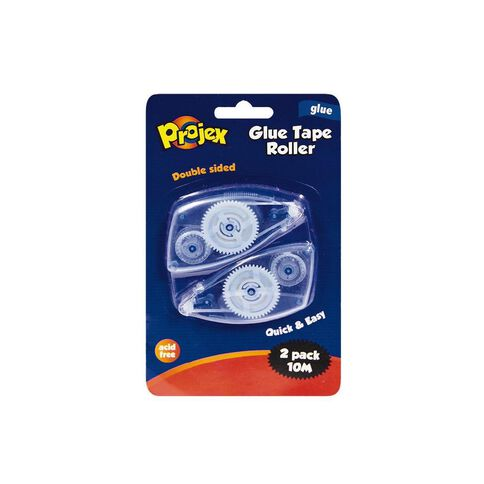 Projex Glue Tape Roller 5m x 6mm 2 Pack Clear