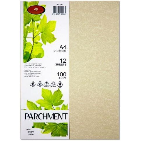 Parchment Paper 100gsm 12 Pack Orion Cream A4