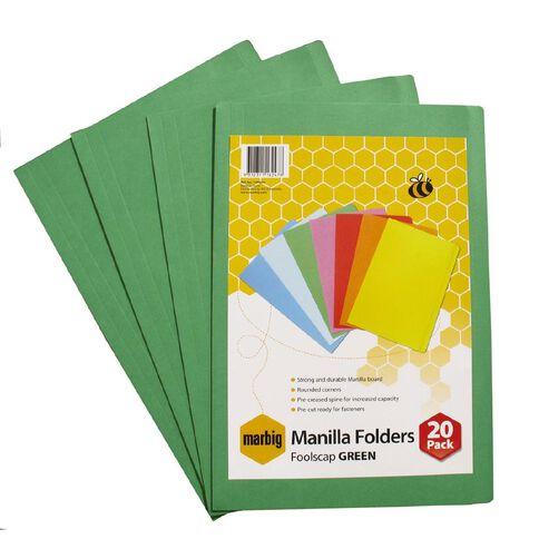 Marbig Manilla Folders Foolscap 20 Pack Green