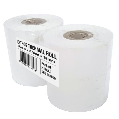 Wsl Cash Register Roll 57 x 57mm Thermal Twin Pack White