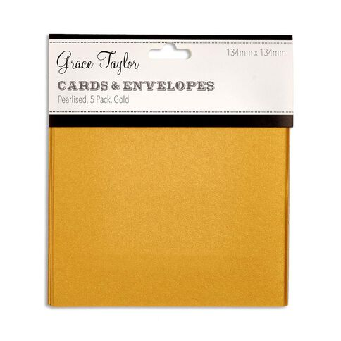 Grace Taylor Cards & Envelopes 134 x 134mm 250gsm 5 Pack Pearl Gold