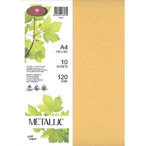 Metallic Paper 120gsm 10 Pack Gold A4