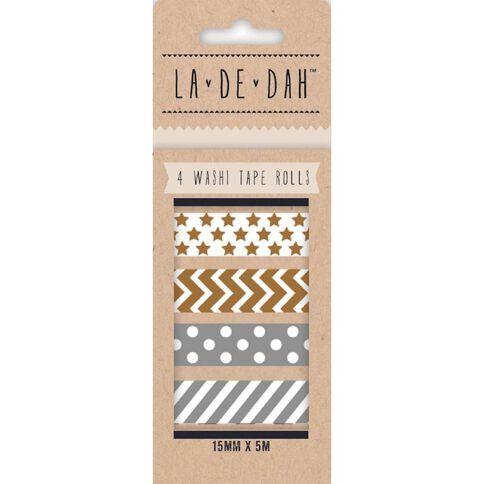 La De Dah Washi Tape 4 Pack Silver