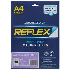 Reflex Mailing Labels 18 Per Sheet 20 Pack A4