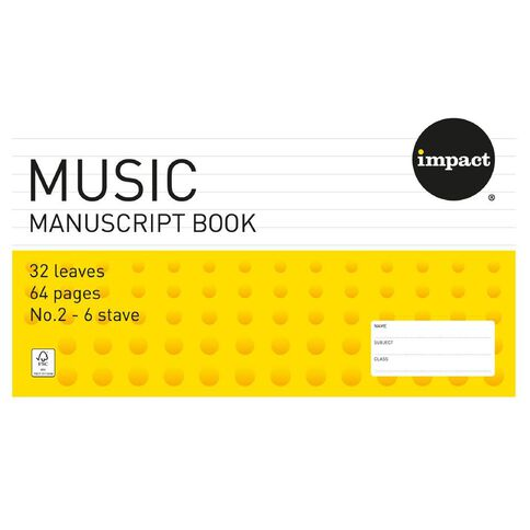 Exercise Book Music #2 6 Stave 32 Leaf Yellow