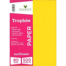 Trophee Paper 80gsm 500 Pack Sunflower Yellow A4