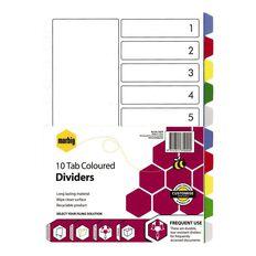 Marbig Divider 10 Tab PP Coloured
