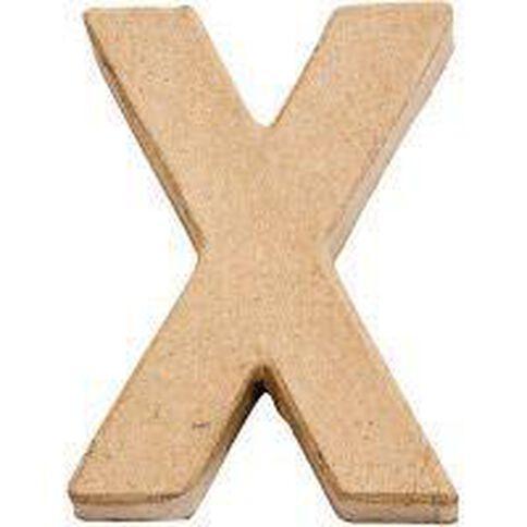 Paper Mache Alphabet Small Symbol X 10cm Brown