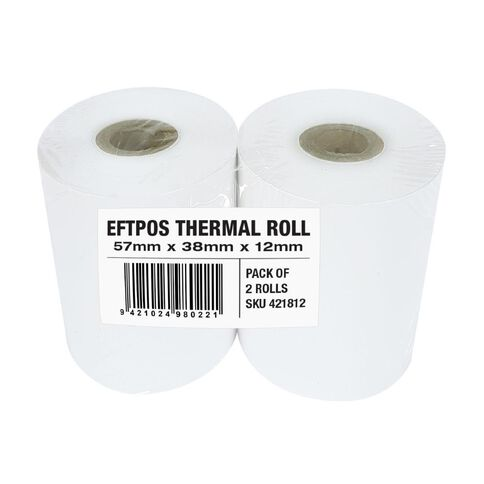 Wsl Cash Register Roll 57 x 38mm Thermal Twin Pack White