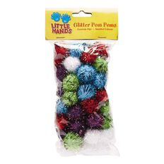 Little Hands Glitter Pom Pom 50 Pack Multi-Coloured