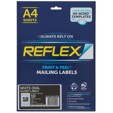 Reflex Oval Glossy Labels White 18/Sheet 10 Pack