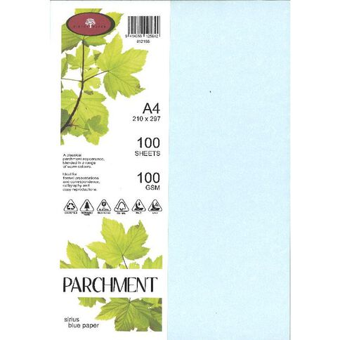 Parchment Paper 100gsm 100 Pack Sirius Blue A4