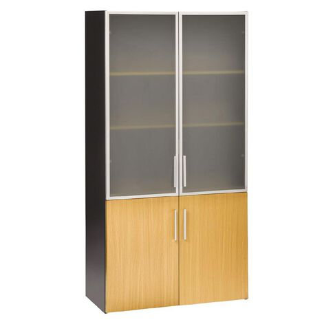 Jasper J Emerge Cupboard Wood/Glass Doors Beech/Ironstone