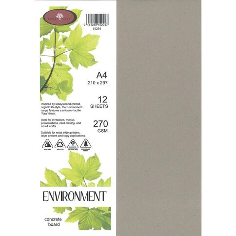 Enviro Board 270gsm 12 Pack Concrete Grey A4