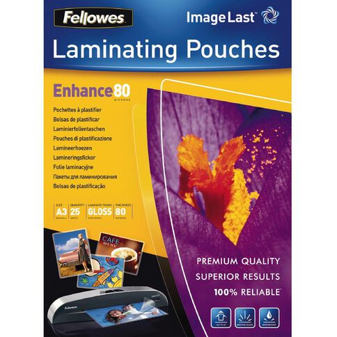 Fellowes Laminating Pouches A3 80 Micron 25 Pack Clear