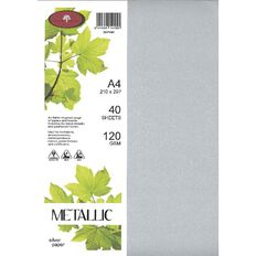 Metallic Paper 120gsm 40 Pack Silver Silver A4