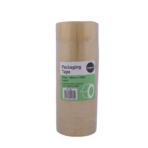 Impact Packaging Tape PP Rubber 48mm x 100m 6 Pack Clear