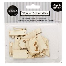 Rosie's Studio Wooden Collectables Tags and Arrows 21 Piece