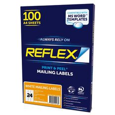 Reflex Mailing Labels 24 Per Sheet 100 Pack White A4