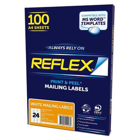 Reflex Mailing Labels 24 Per Sheet 100 Pack White A4