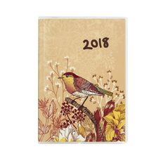 Diary 2018 Wtv Bird Pastel Pvc Cover Brown A6