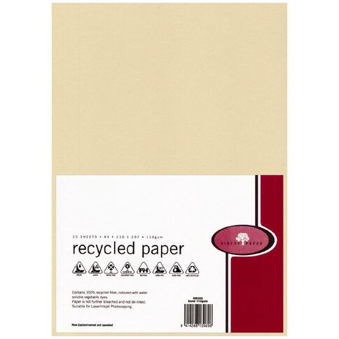 Recycled Paper 110gsm 25 Pack Sand Sand A4