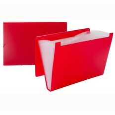Impact Foolscap Expanding File PP 12 Pocket Red