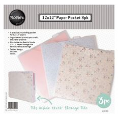 Rosie's Studio Paper File 12in x 12in 3 Pack Clear