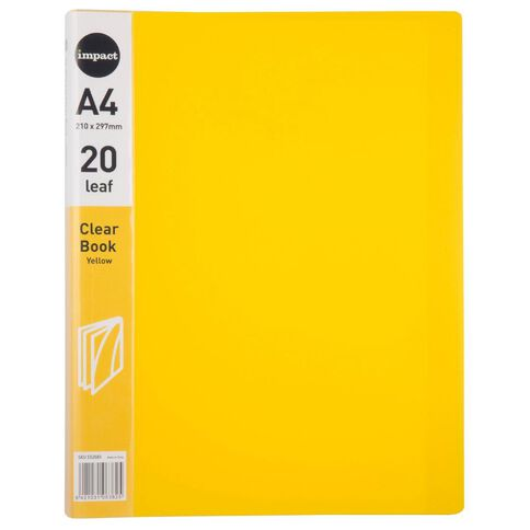 Impact Clear Book 20 Leaf Yellow A4